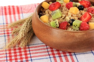 Oatmeal with fruits close-up