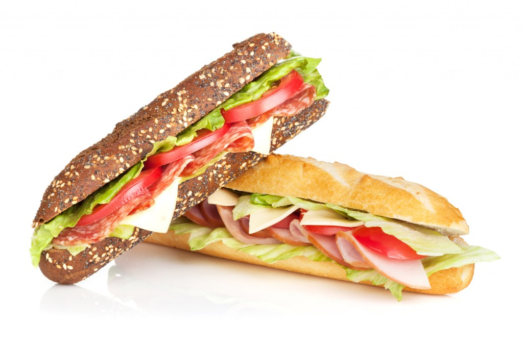 Fresh sandwiches with meat and vegetables
