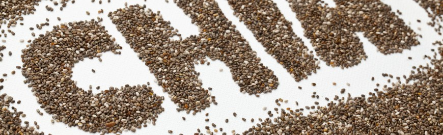 chia seeds word and background