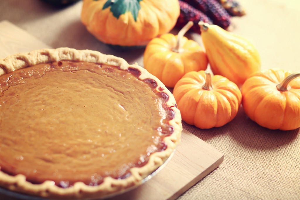 Pumpkin pie with autumn vegetables